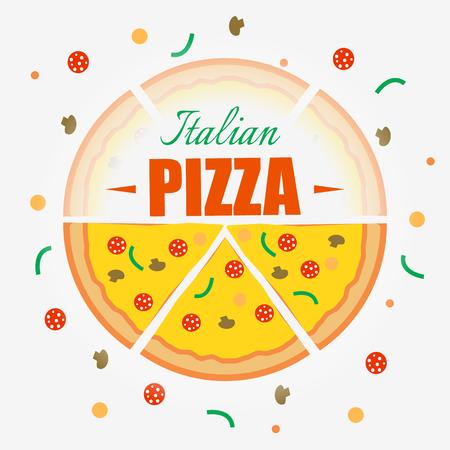 Italian Pizza design background. Vector background. Restaurant cafe menu, template design.