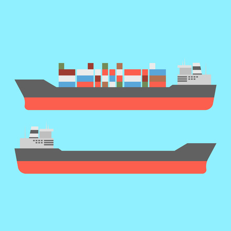 Container Cargo ship in the ocean icons. Vector Illustration