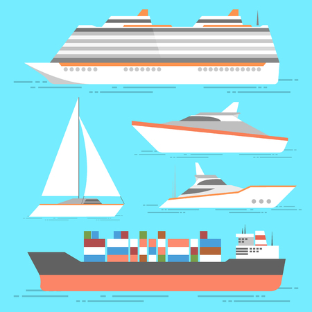 Ship icons set. Vector boats isolated. Ocean ships collection Çizim