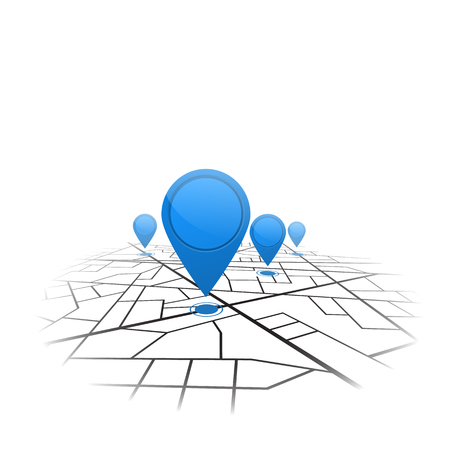 Gps navigation background. Road map isolated on white. Vector
