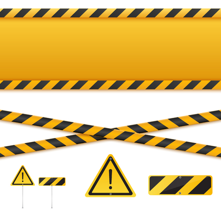 hazard stripes: Yellow and black danger tapes