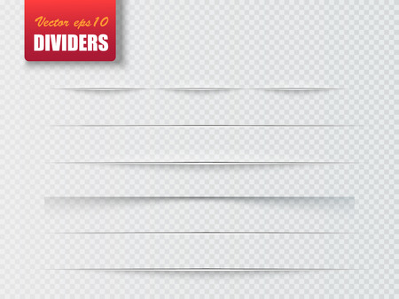 Dividers isolated on transparent background. Shadow dividers. Vector