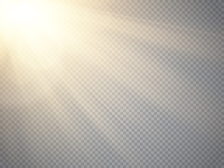 special effect: Sun isolated on transparent background. Vector illustration.