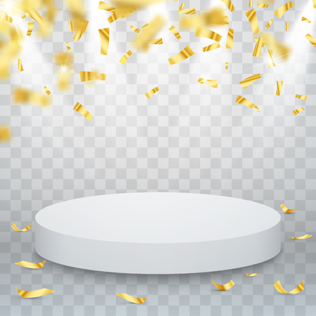 tribune: Winner concept design with falling down confetti and podium. Vector