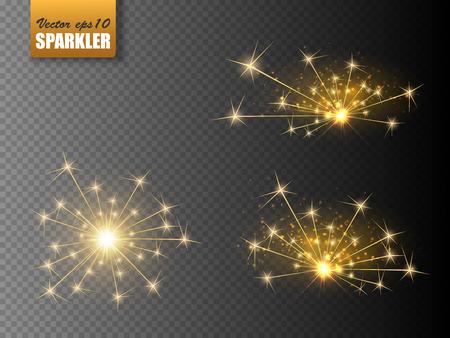 Festive Christmas sparkler set isolated on transparent background. Vector eps10 Illustration