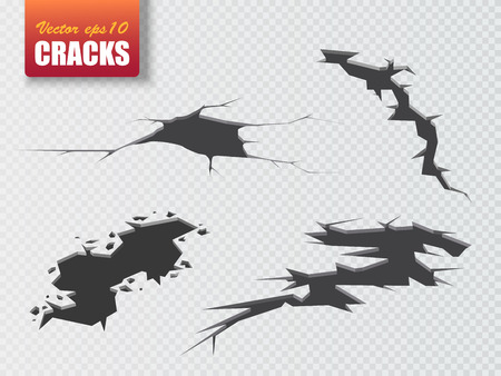 Vector cracks isolated. Illustration for your design Illustration