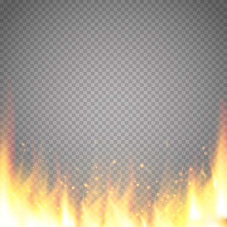 Realistic fire flame vector special effect isolated on transparent background.