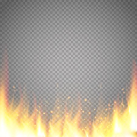 Realistischer Feuerflammenvektorspecialeffekt lokalisiert auf transparentem Hintergrund. Vektorgrafik
