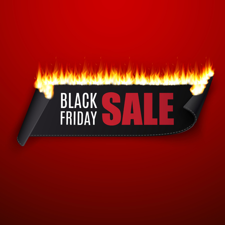 Black friday sale vector illustration with black ribbon and fire
