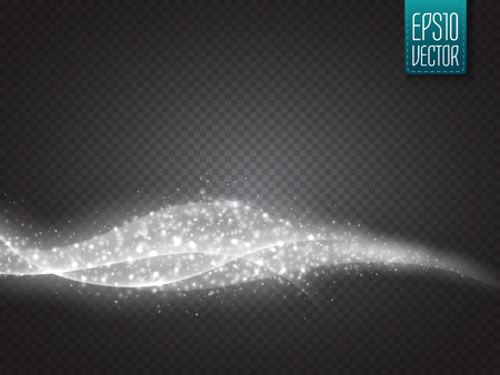 Abstract vector smooth wave with glow isolated on transparent background