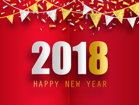 happy new year 2018 greeting card with 3d paper effect stock vector 84136118