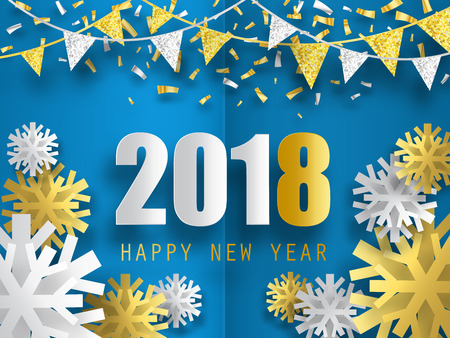 2018 Happy New Year vector background with 3d paper snowflakes. Çizim