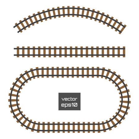 freight train: Isolated vector rails set. Railways on white background. Railroad tracks.