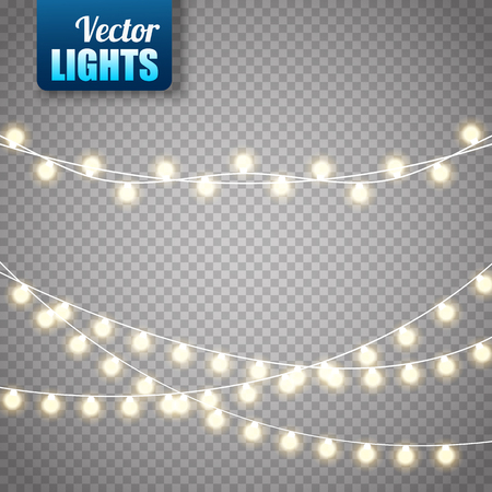 Lampki choinkowe na przezroczystym tle. Zestaw złotej świecącej girlandy świątecznej. Ilustracji wektorowych