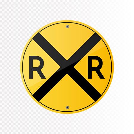 Railroad crossing traffic sign. Illustration