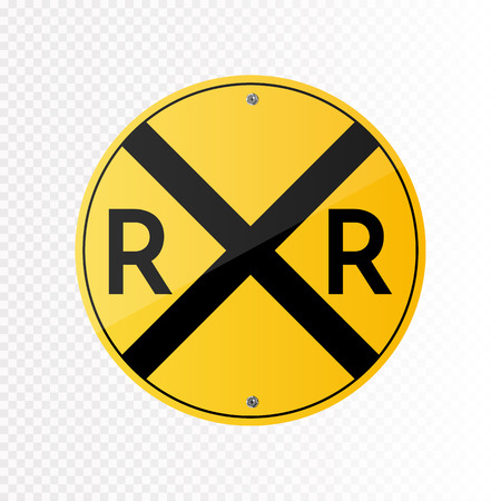 Railroad crossing traffic sign. Illustration