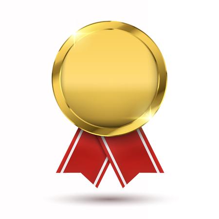 Concept gagnant; Médaille d'or blanc isolé sur blanc. Banque d'images - 87688938