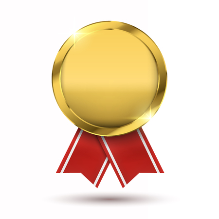 Winner concept; Blank golden medal isolated on white. Stock Illustratie
