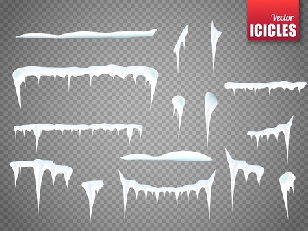 Set of snow icicles isolated on transparent background.