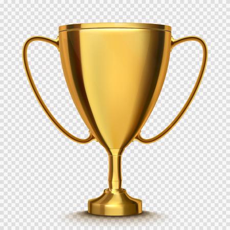 Winnaar beker geïsoleerd; Gouden trofee op transparante achtergrond. Stock Illustratie