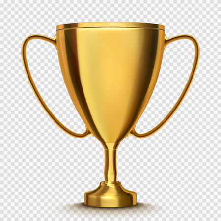 Winner cup isolated; Golden trophy on transparent background.