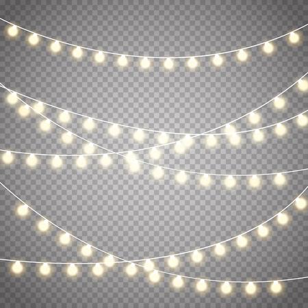 Kerstmislichten op transparante achtergrond worden geïsoleerd; Kerstmis gloeiende slinger. Vector Illustratie