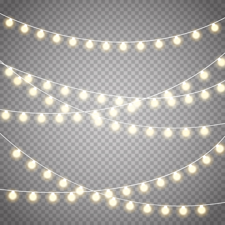 Luces de Navidad aisladas sobre fondo transparente; guirnalda que brilla intensamente de Navidad. Ilustración de vector
