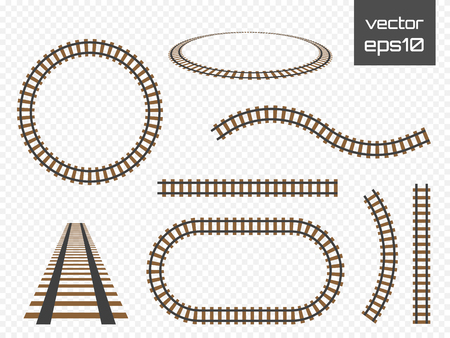 Vector rails set. Railways on white background. Railroad tracks.