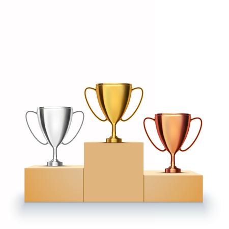Winner background. Trophy Cups on prize podium. Vector illustration