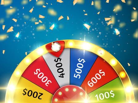 roue colorée de chance ou vecteur de la boussole de la radioactivité