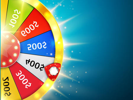 Fortune wheel with sparks. Casino background. Vector