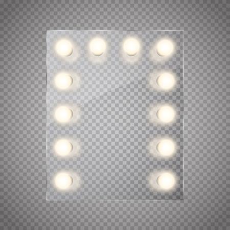 Make-up-Spiegel mit Lichtern . Vektor-Illustration Vektorgrafik