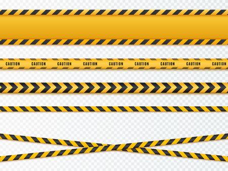 Gelbe und schwarze Gefahrenbänder. Vorsicht Linien isoliert. Vektor Standard-Bild - 89461553