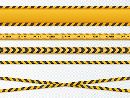 Yellow and black danger tapes. Caution lines isolated. Vector Stock Photo