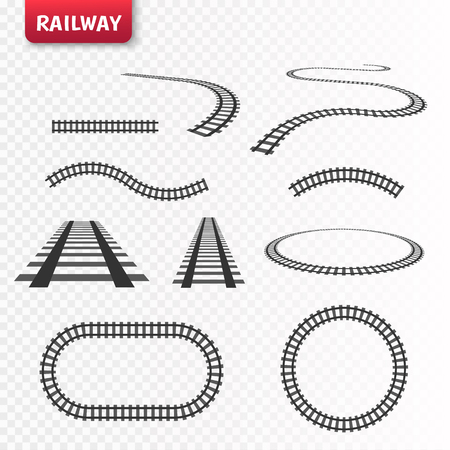 vector rails set railways on white background railroad tracks