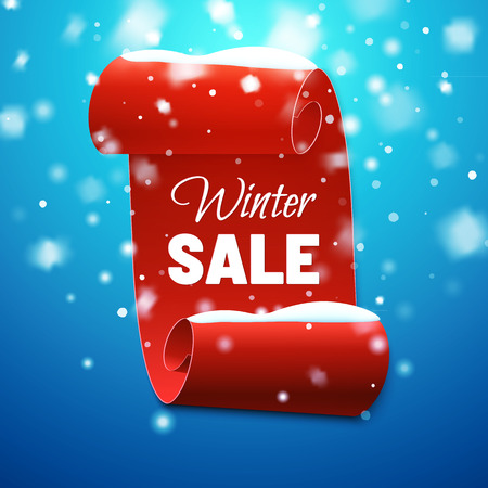 Winter sale background with red banner and snow. Vector illustration