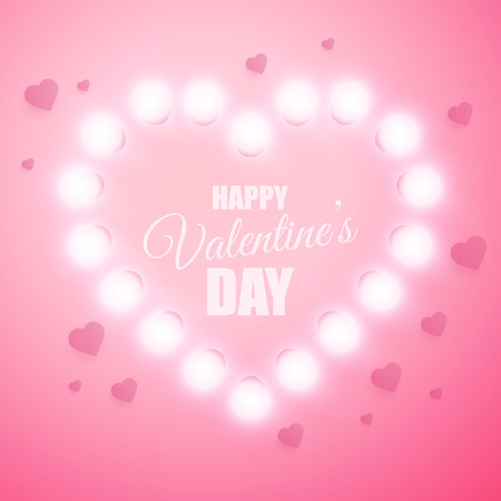Valentines Day background. Vector retro light sign. Glow heart illustration.