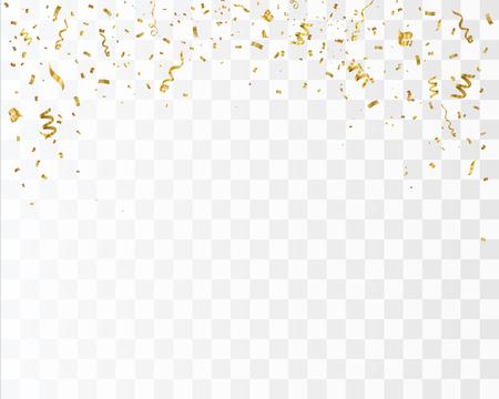 市松模様の背景に分離された黄金の紙吹雪。お祝いベクター イラストです。