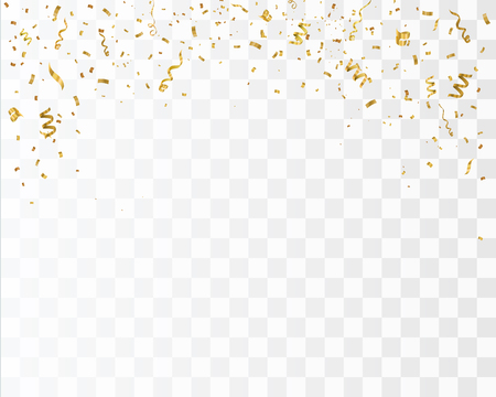 Golden confetti isolated on checkered background. Festive vector illustration.