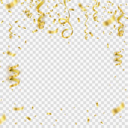 Golden confetti isolated on checkered background. Festive vector illustration Çizim