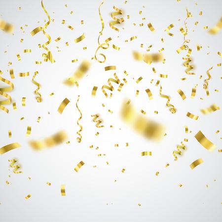 Golden confetti isolated on checkered background. Festive vector illustration Иллюстрация