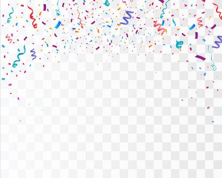 Coriandoli luminosi colorati isolati su sfondo trasparente. Illustrazione vettoriale festivo Vettoriali