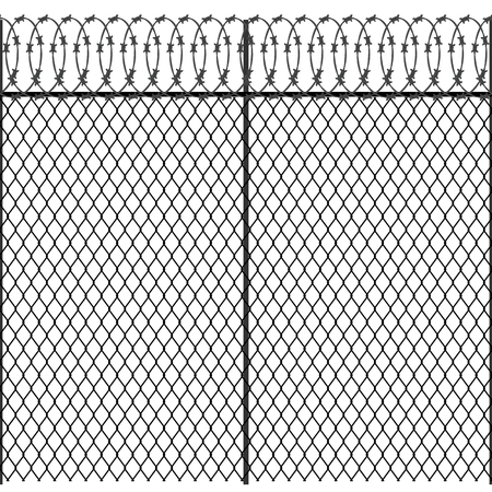 A Seamless metal fence with barbed wire isolated Vector