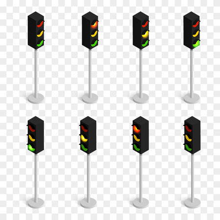 Set of isometric vector traffic lights isolated on checkered background. Illustration