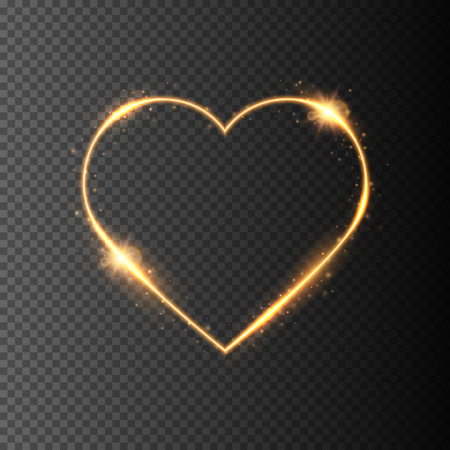 Golden shine heart frame with sparkles isolated. Vector illustration