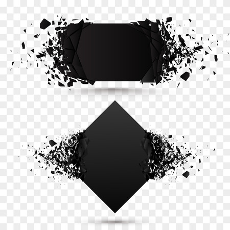 Black square stone with debris isolated. Abstract black explosion. background.