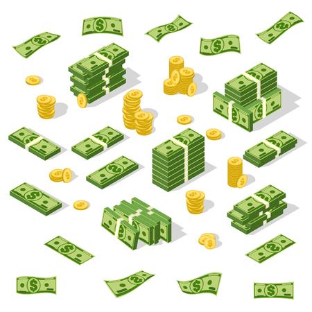 Set of isometric money isolated on white background.  イラスト・ベクター素材