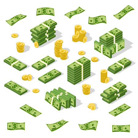 Set of isometric money isolated on white background. Çizim