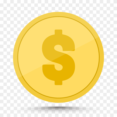 Money golden coin isolated on transparent background. Vector illustration.