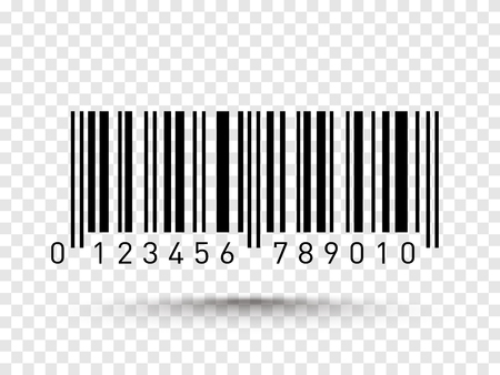 Barcode isolated on transparent background. Vector illustration.
